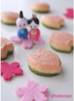 お雛様、花びらクッキー