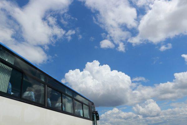 バス旅行、快晴、学生旅行