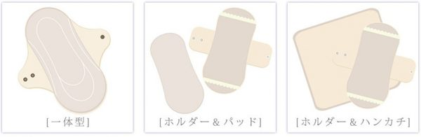 布ナプキン、生理痛、一体型、ホルダー&パッド、ホルダー&ハンカチ