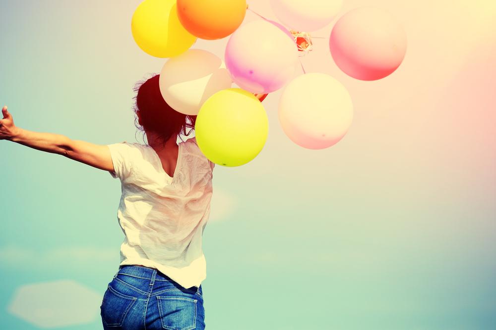 嬉しい、感激、風船、喜び、飛び跳ねる