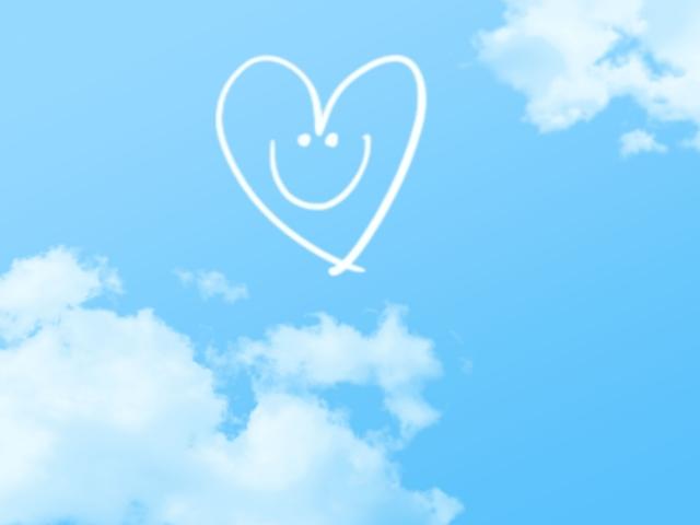 スマイル、ハート、スマイルハート、青空、白い雲