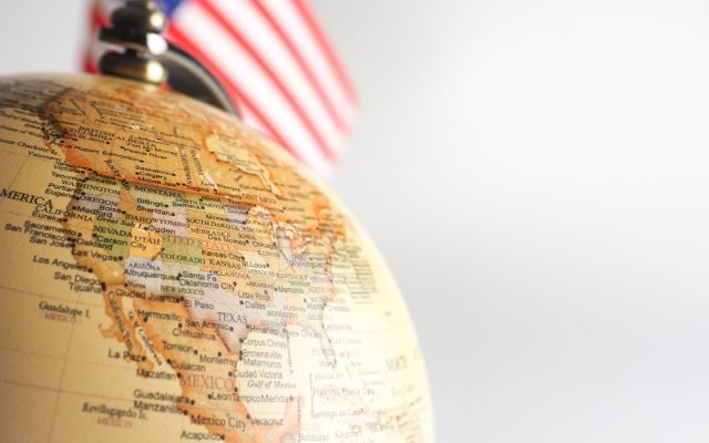 アメリカ合衆国、星条旗、地球儀