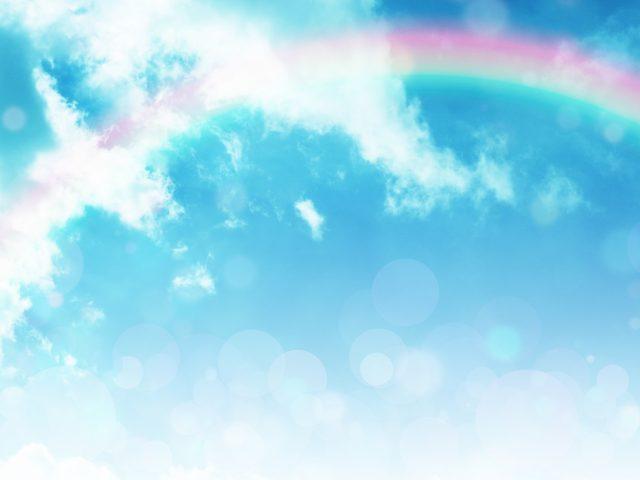 虹、虹色、青空、雲