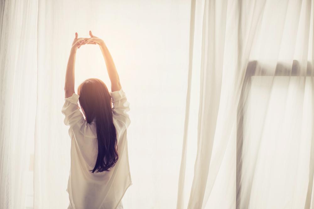 リラックス、リフレッシュ、気持ちの良い目覚め、陽射し