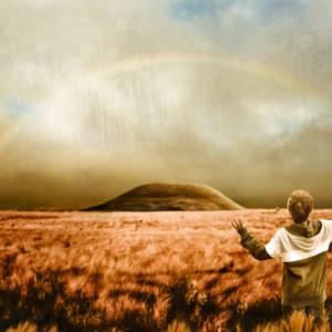 虹、にじ、神々しい、少年、眩しい、まぶしい