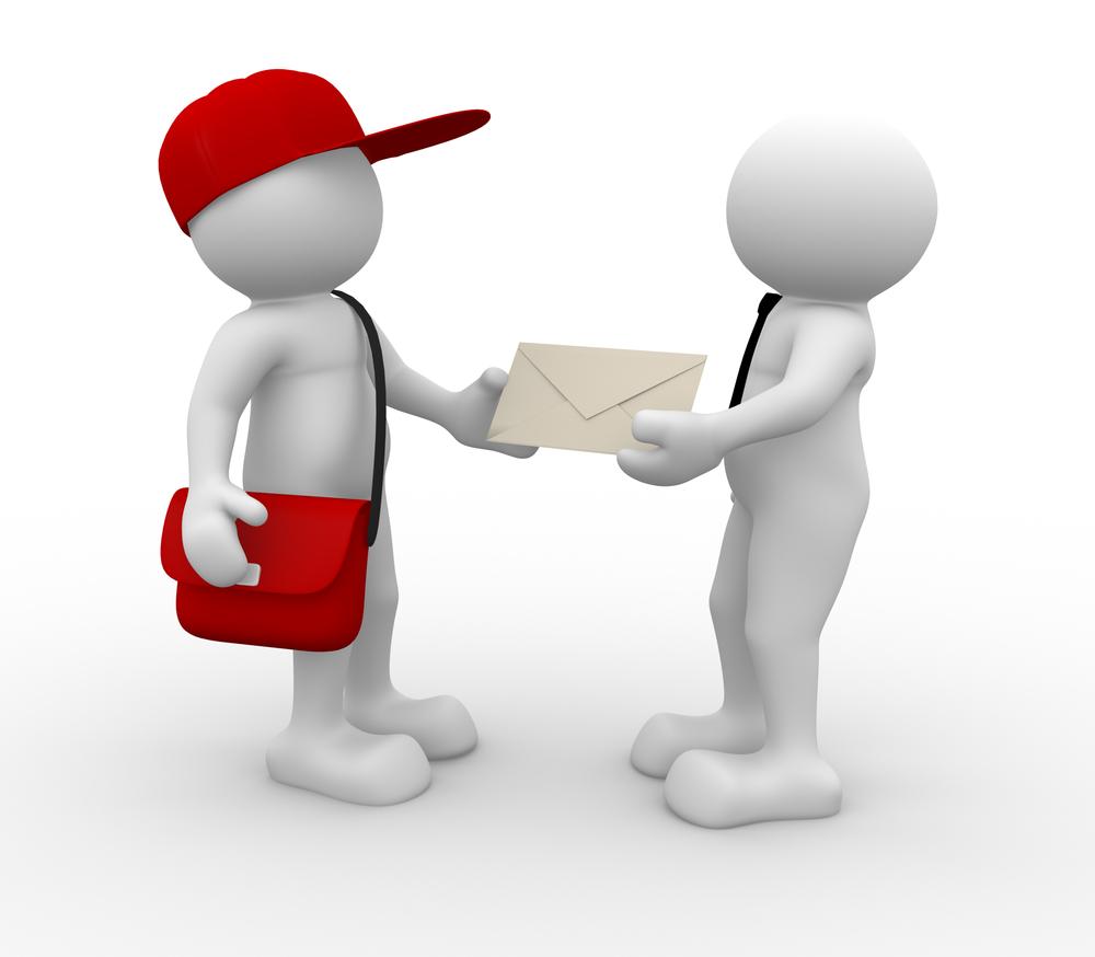 郵便配達、荷物、郵便物、配達