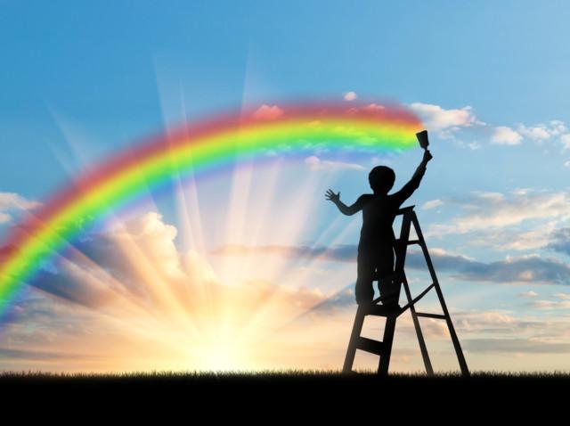 虹、にじ、虹を描く、にじたまサロン