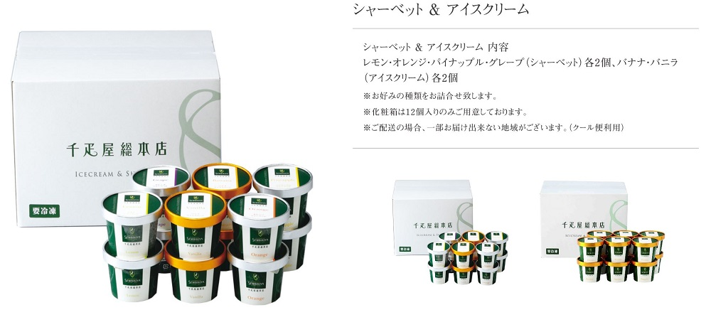 千疋屋総本店、シャーベット&アイスクリーム