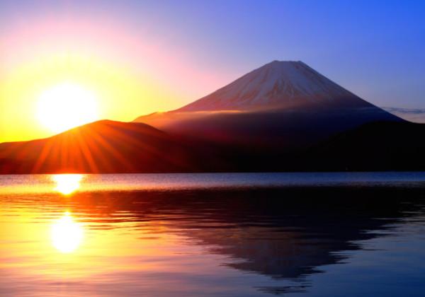 富士山、日の出、初日の出